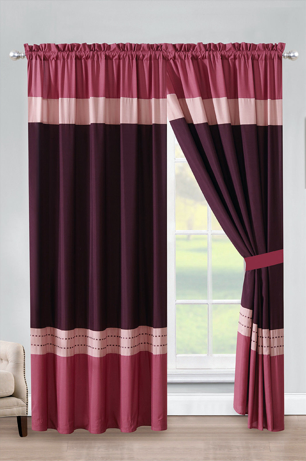 Primary image for 4-P Liana Stripe Embroidery Curtain Set Rose Pink Purple Rouge Punch Sheer Liner