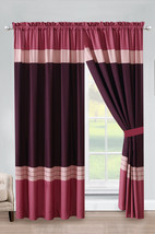 4-P Liana Stripe Embroidery Curtain Set Rose Pink Purple Rouge Punch She... - $40.89