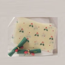 Christmas Place Mats Napkins Doll House Shoppe Holly/Cream DHS4828 Miniature - $5.64