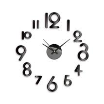 New! Diy Self Adhesive Wall Clock Do It Yourself 3D Interior Time Clock - Black - $16.78