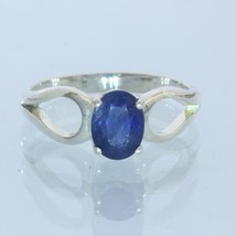 Natural Blue Sapphire Solitaire Handmade Sterling Silver Ladies Ring size 6.75 - £57.59 GBP