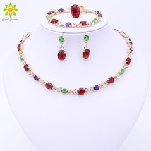 Hot Selling Dubai Colorful Crystal Rhinestone Necklace Sets Gold Color W... - $25.39
