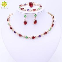 Hot Selling Dubai Colorful Crystal Rhinestone Necklace Sets Gold Color Women Bri - $25.39