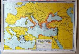 School Wall Map Greek & Phoenician, Colonies & Commerce Denoyer-Geppert ... - $49.50