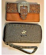 2 Wallets Buckle Studded Credit Card Wallet & Beverly Hills Polo Club Wa... - $22.95