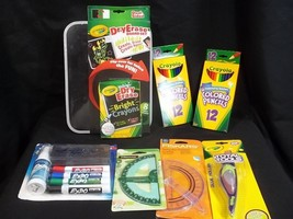 School Supplies Lot Crayola Dry Erase Markers Board Pencils Glue Roller - $26.68