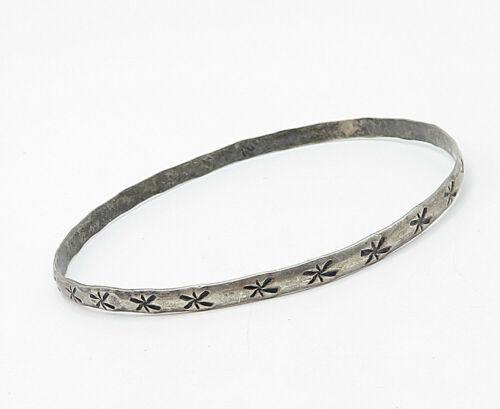 CUERNAVACA MEXICO 925 Silver - Vintage Antique Star Etched Bangle Bracelet-B5207