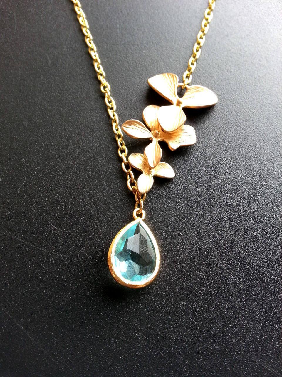 Aqua Teardrop Gem Lariat Gold Orchid Trio Necklace Bridal Necklace Aqua Gemstone