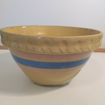 Vintage Yellow Ware Bowl Banded Blue & Pink Primitive Mixing Bowl - $14.03