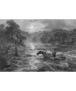 DROWNED LOVERS Scottish Ballad Crossing River on Horse - 1860s Engraving... - $12.15