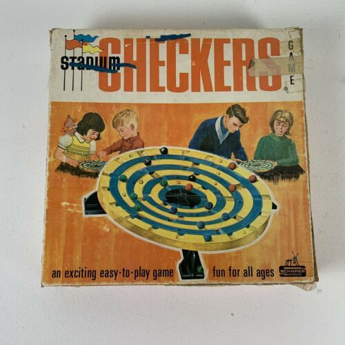 Primary image for STADIUM CHECKERS Vintage Marble Game 1952 Schaper Mfg. No. 300