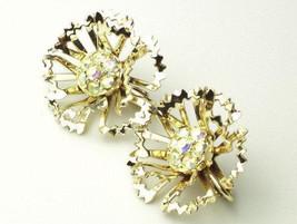 Sarah Coventry 1950's Vintage EARRINGS Aurora Borealis Rhinestone Flower Design  - $15.50