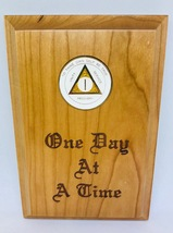 Wood Medallion Holder One Day at a Time  - $25.99
