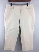 Ann Taylor Dress Pants 8P 8 Petite Curvy Ivory Cotton Spandex Cropped - $14.85
