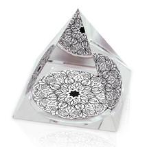 "Intricate Monochrome Pattern Kaleidoscope Art 3.25"" Crystal Pyramid Pape... - $29.95"