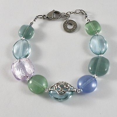 BRACELET ANTICA MURRINA VENEZIA GLASS MURANO, OVALS BLUE GREEN PINK ADJUSTABLE