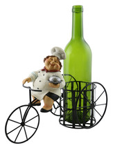Kitchen Decor Lady Chef w/ Dish Smiling on Bicycle Metal Wine Bottle Holder - $27.83