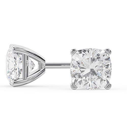 18k White Gold Cushion Cut Diamond Stud Earrings 1 Carat