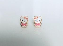14K Yellow Gold Pink Hello Kitty Screw Back Stud Earrings Enamel - $44.33