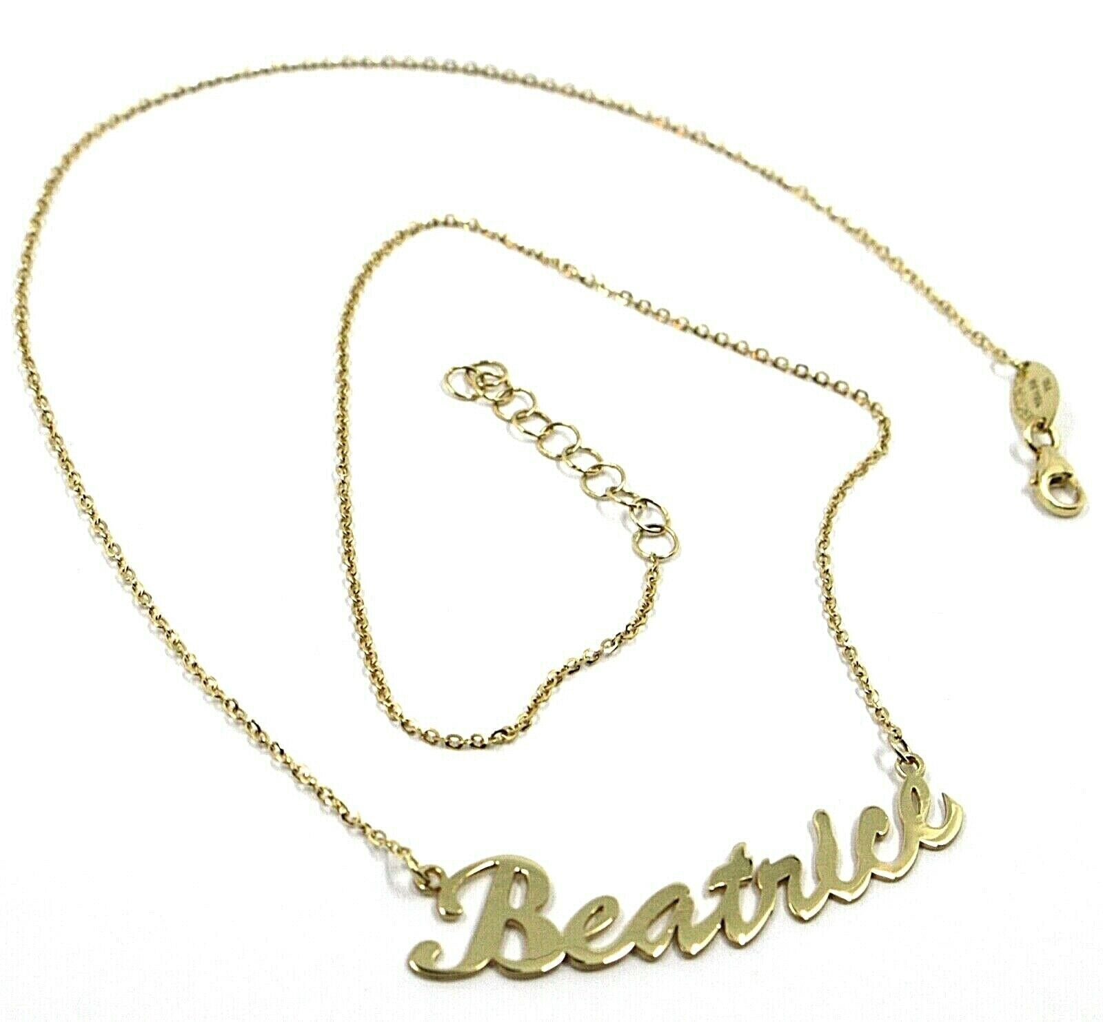 18K YELLOW GOLD NAME NECKLACE, BEATRICE, AVAILABLE ANY NAME, ROLO CHAIN