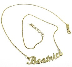 18K YELLOW GOLD NAME NECKLACE, BEATRICE, AVAILABLE ANY NAME, ROLO CHAIN image 1