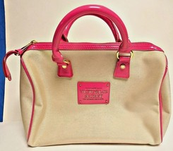 Ladies Love Victoria's Secret Canvas & Hot Pink Patent Leather Handbag - $18.70