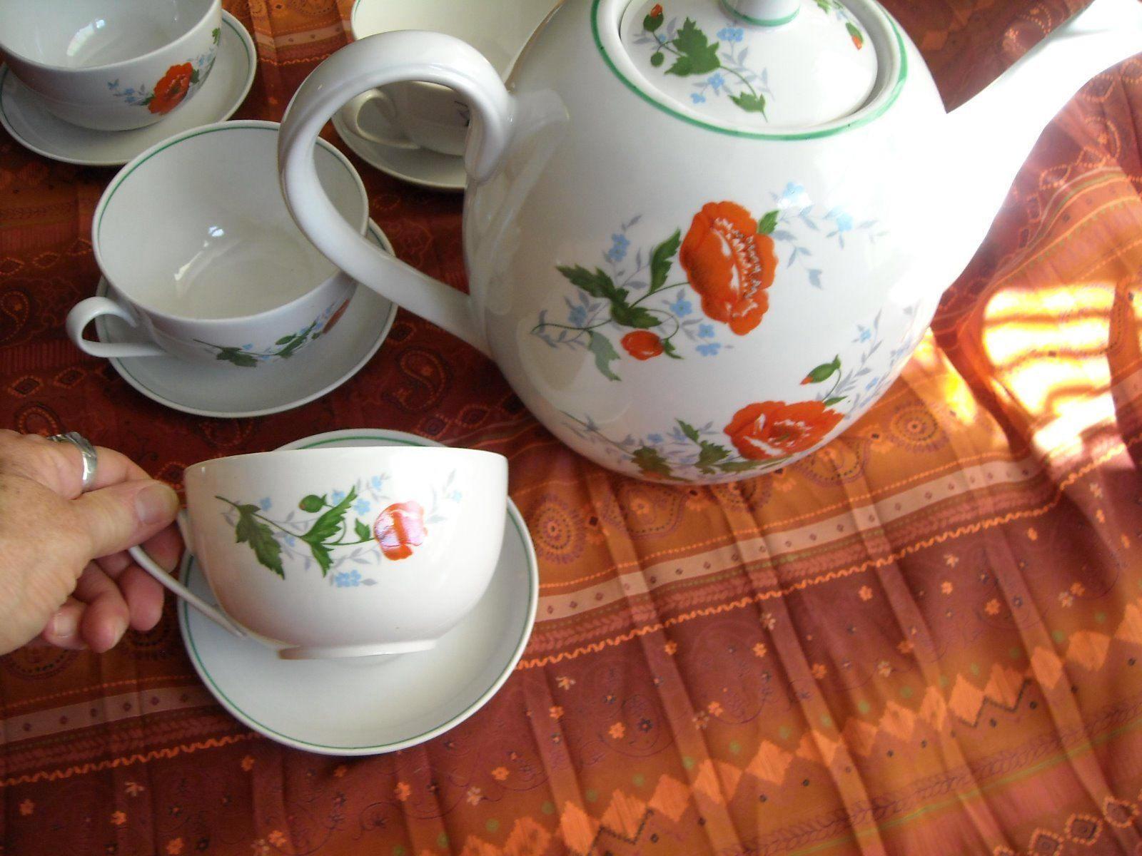 Antique Large Tea Pot & Large Cups Saucers Russian Dmitrov Verbilki Orange Poppy