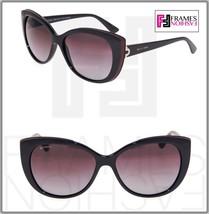 BVLGARI LOGO BV8157BQ Black Burgundy Leather Violet POLARIZED Sunglasses... - $267.30