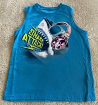 Arizona Jeans Company Boys Blue Shark Attack Pink Headphones Tank Top Small 8 - $6.43