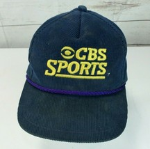 Vintage CBS Sports Corduroy Strapback Hat /Cap, Navy Blue, Made in USA - $12.86