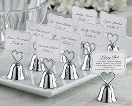 120 Kissing Bell Place Card Photo Holder Silver Heart - $131.44