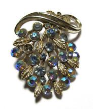 Lisner rhinestone brooch Signed vintage jewelry pinback - $20.57