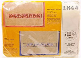 Counted Cross Stitch Kit 2 Teddy Bear Hearts Cotton Towels #1644 New Vintage - $11.99