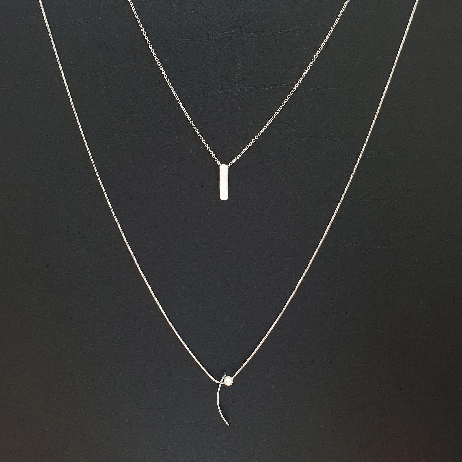 Multi-Strand Curved Bar Princess Layered Necklace Imitation Pearl N18