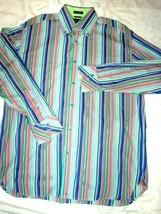 Tommy Hilfiger 80s 2 Ply Fabric Retro Club Shirt Mens M Striped Long Sle... - $24.87