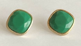 """Vintage Green Lucite Faceted Silver Tone Square 7/8"""" Pierced Earrings - $14.84"""