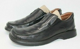 Clarks Size 8.5 M Black Leather Square Apron Toe Slip On Casual Shoes 78340 image 2
