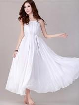 White Dress Maxi Sleeveless White Dresses White Bridesmaids Outfit - $29.11