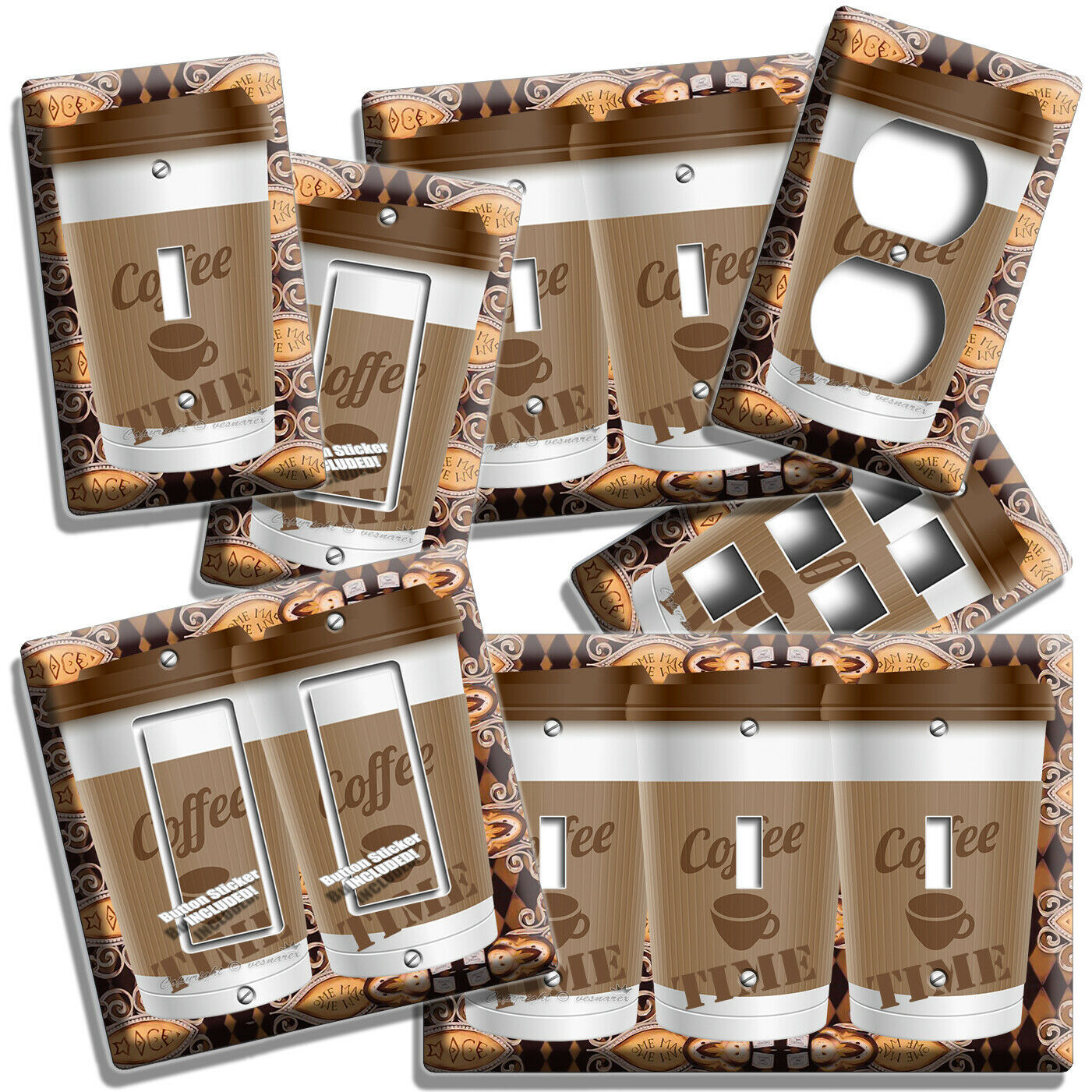 Primary image for COFFEE TIME PAPER CUP LIGHT SWITCH OUTLET PLATE ROOM KITCHEN CAFE SHOP ART DECOR