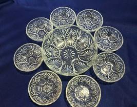 """Anchor Hocking Medallion cameo star berry bowl set 9 pieces 8"""" bowl & 8 ... - $24.74"""