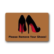 Elegant Pattern Funny Quotes Please Remove Your Shoes Rectangle Entryway... - $34.73