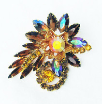 Vintage amber iridescent rhinestone flower pin goldtone setting unmarked... - $24.70