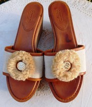Coach Wedges Jazmin Brown Leather Beige Canvas Cork Sandals Slides 9B New - $45.00