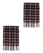 Club Room Men's 100% Cashmere Plaid Scarf in Burgundy - $59.39