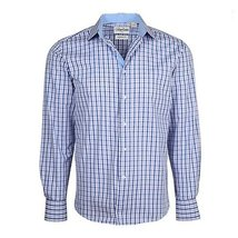 Men's Checkered Plaid Dress Shirt - Purple, Large (16-16.5) Neck 32/33 Sleeve