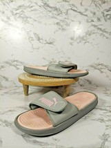 Puma Womens Slip On Flat Lightweight Comfort Gray Pink Slide Sandals Size US 8 - $24.74