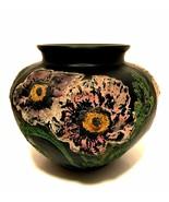Tiffin Black Satin Glass Poppies Vase Peacock Products McCourt Studios 5... - $173.25
