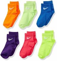Nike Kids Performance Low Cut Socks 6 pair Size 5-6 (9C-13C) Multi-Color... - $12.86