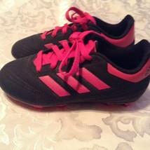 Adidas cleats Size 12 soccer softball baseball girls black pink shoes - $20.99