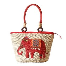 Fashion Vacation Item/National Customs Straw Hand Bag/ Beach Bag/Red Elephant